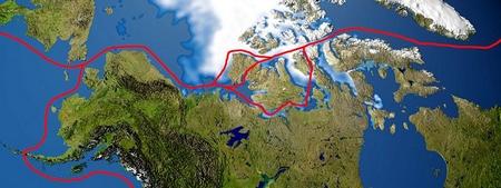 Passage canadien en Antartique. Nord Ouest.